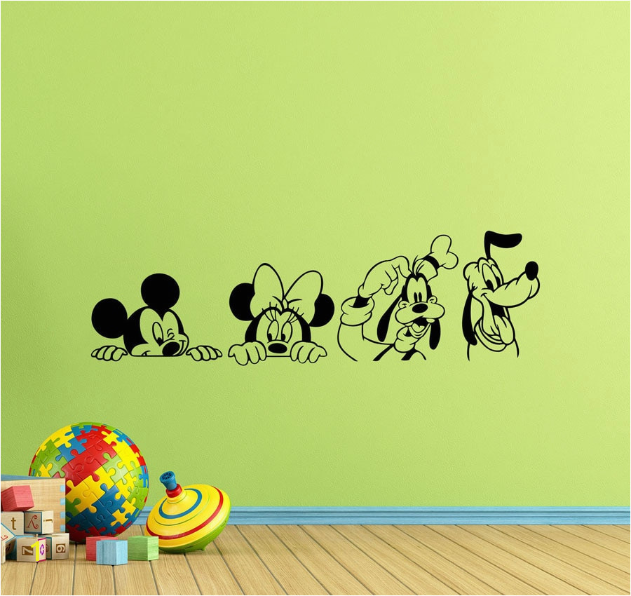 Set 4 Wall Decals Mickey Mouse Minnie Goofy Pluto Kids Playroom Posters Vinyl Sticker Children