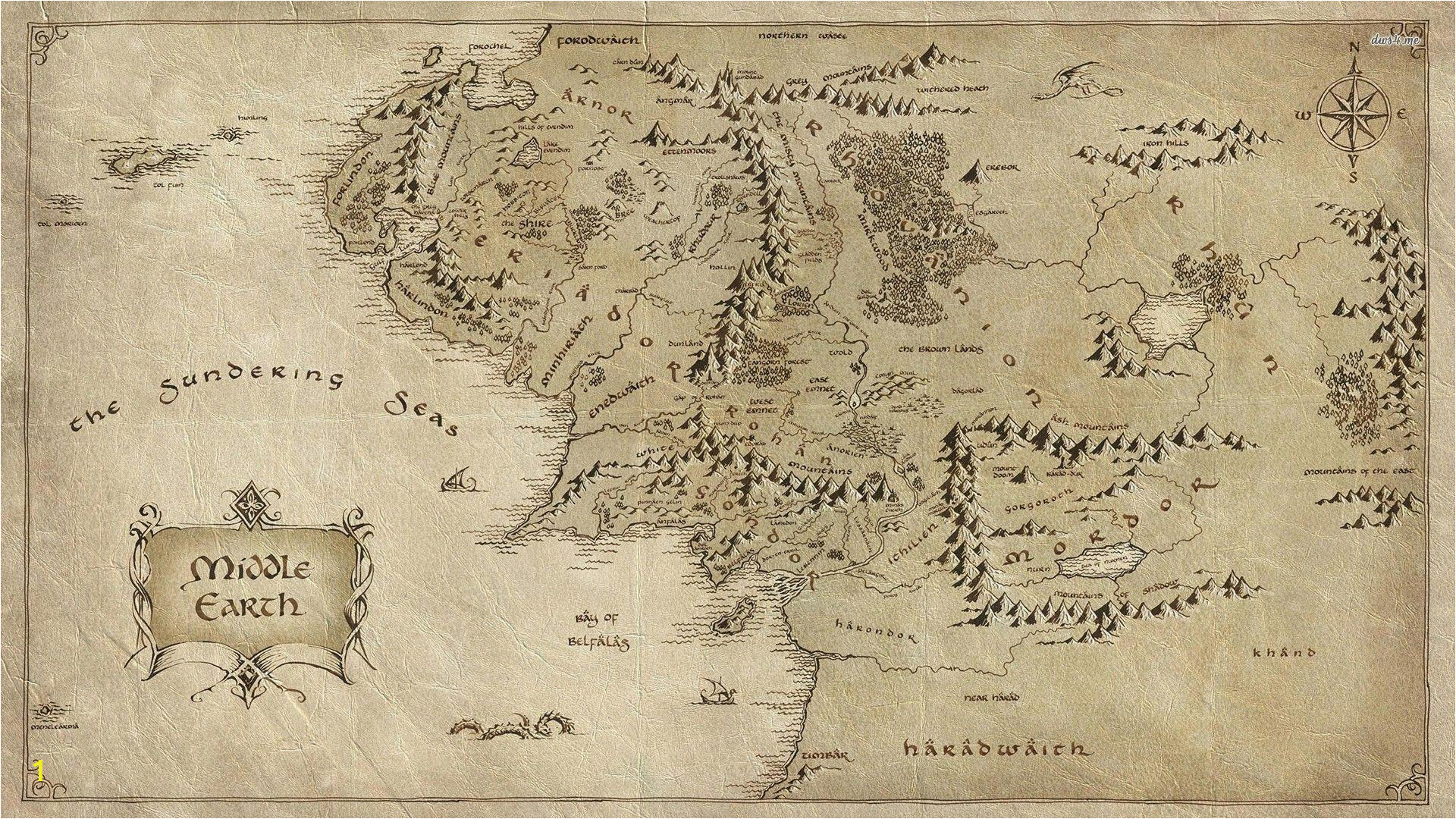 Middle Earth Wall Mural Middle Earth Map Wallpapers Wallpaper Cave