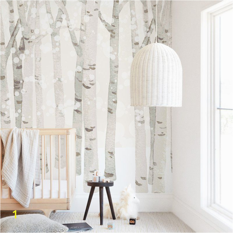 Minted Childrens Wall Murals Birch Woods In Winter In 2019