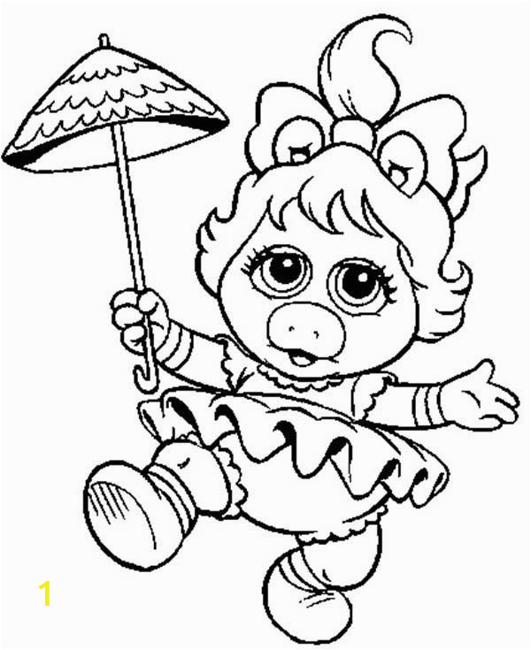 Miss Piggy from Muppet Babies Coloring Pages 600x735