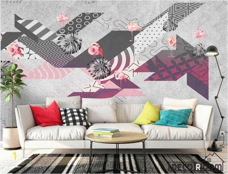 Modern Abstract Wall Murals Flamingo Abstract Geometric Minimalism Modern Wallpaper Wall