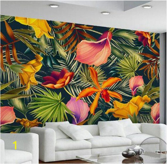 Modern Wall Mural Paintings Custom Wall Mural Tropical Rainforest Plant Flowers Banana