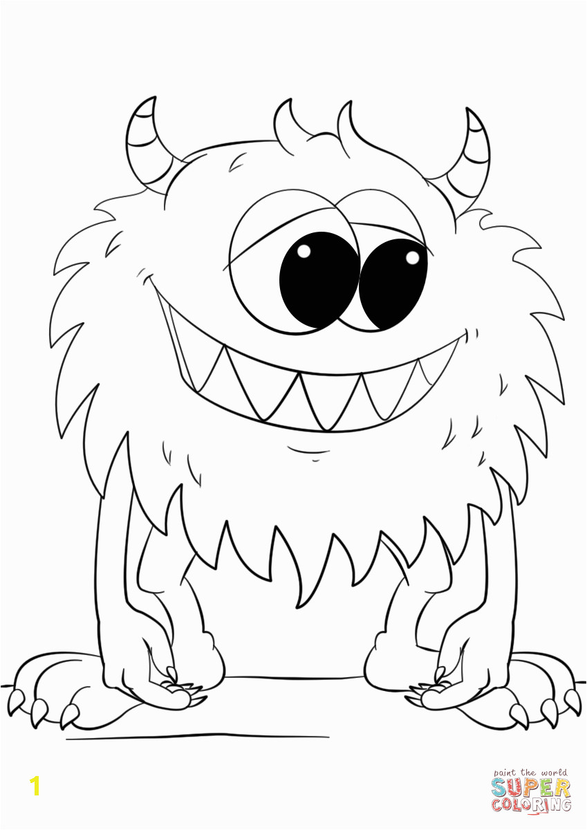 cute cartoon monster coloring page free printable pages splendi image