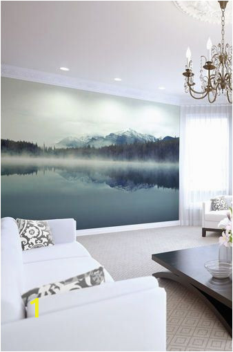Mountain Lake Wall Mural Mountain Lake Wallpaper Mural Foggy Ombre Mountain Lake