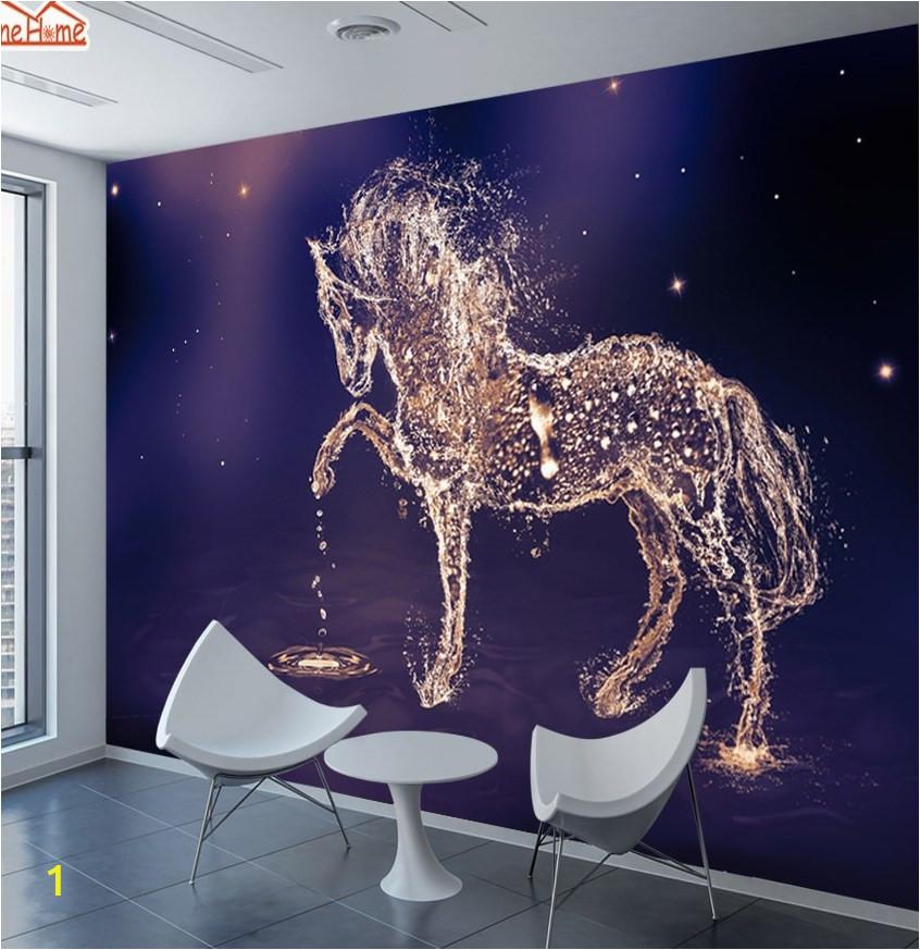 ShineHome 3d Glittering Running Horse Wallpapers 3 d Animal Wall Paper Wallpaper Mural Roll for Kids