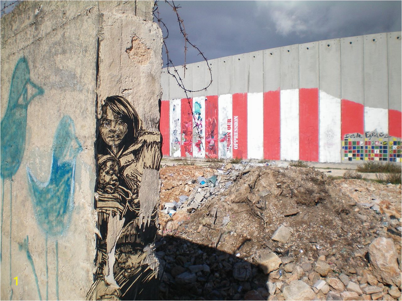 Bethlehem wall graffiti by Swoon and Ron English