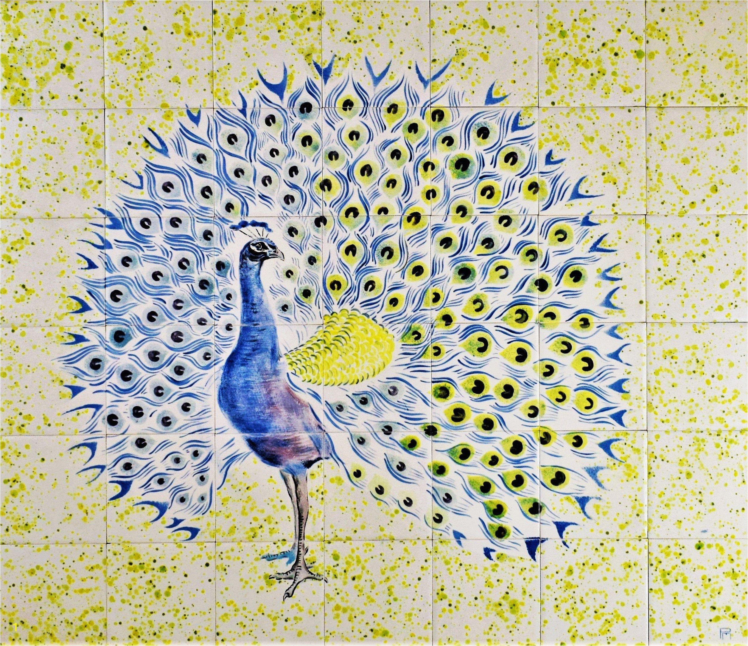 """Mural Wall Tiles for Kitchen Backsplash Tiles Hand Painted Ceramic Tile Mural 28"""" W X"""