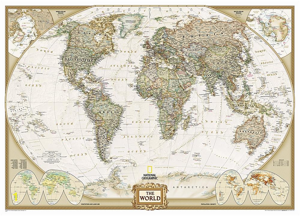 National Geographic Executive World Map Wall Mural World Executive National Geographic Wall Map 3 Sheet Mural