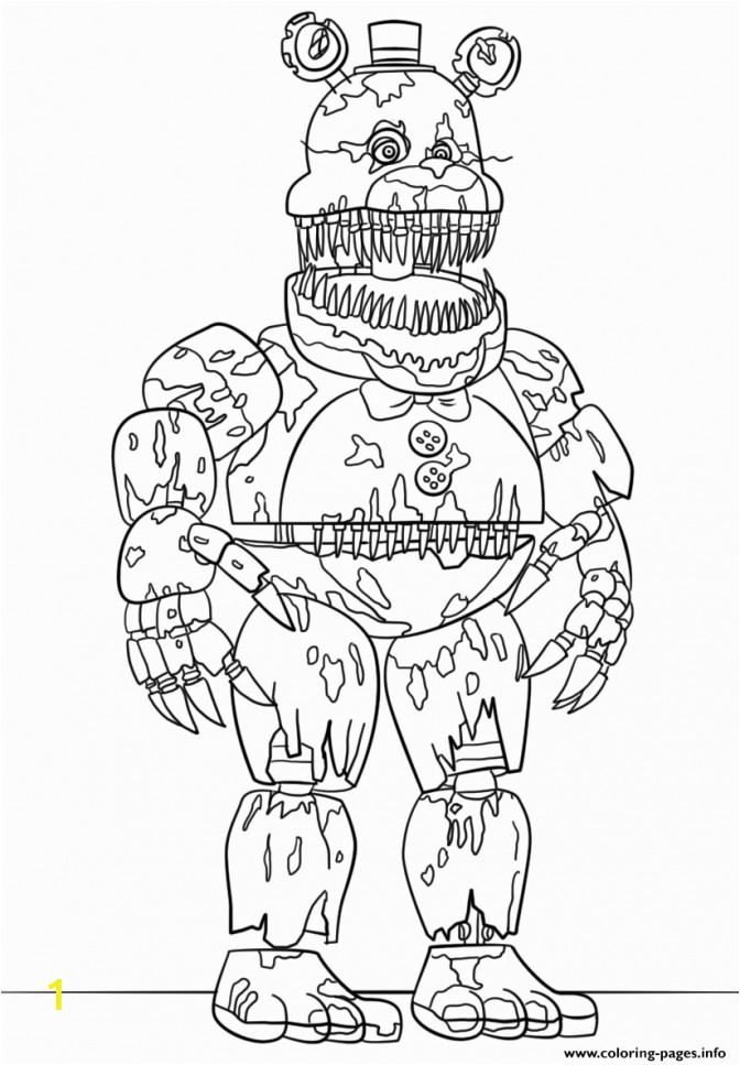 five nights at freddy039s coloring pages photo ideas print nightmare fredbear scary fnaf color 672x967