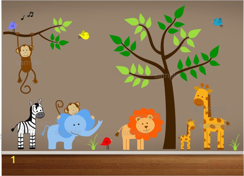 Nursery Jungle Wall Murals Jungle Wall Decals Tree Zebra Elephant Monkey by