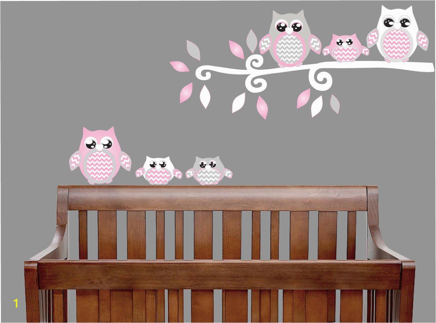 Pink Owl Wall Decals Owl Stickers Owl Nursery Wall Decor Grey and Pink Owl Wall Decals B014OD63EK