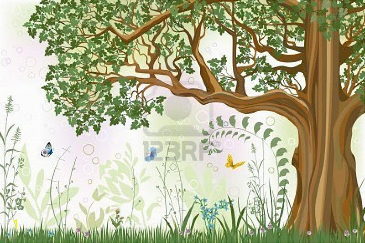 Oak Tree Wall Mural Vector Iillustration Of An Oak Tree In A Meadow