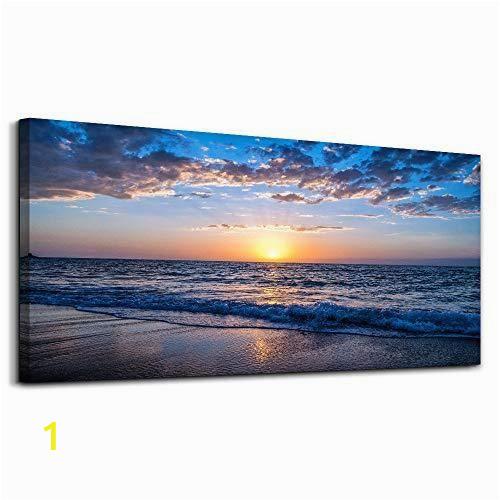 Ocean Sunset Wall Murals Moon Sea Blue Ocean Sunset 1 Piece Framed Canvas