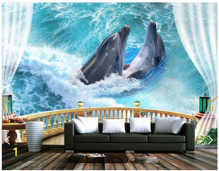 3d wallpaper custom 3d wall murals wallpaper balcony sea ocean dolphin background wall paintings 3d living