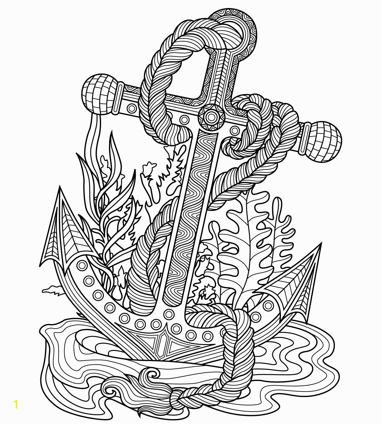 Ocean Waves Coloring Pages Anchor Sea Coloring Page