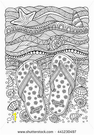 Ocean Waves Coloring Pages Coloring Book for Adult Sea Beach Slippers Sand and Shell