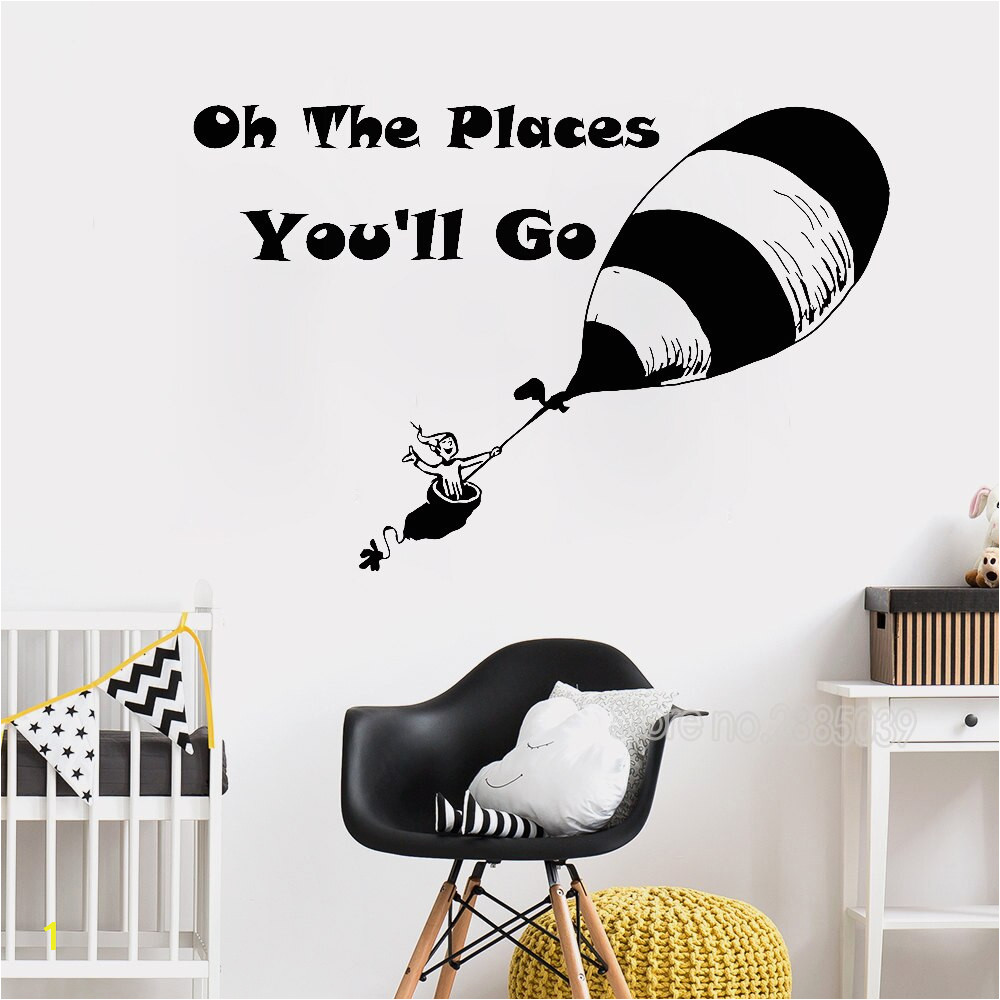 163x110cm Big Size Wall Stickr Quote Oh The Places You ll Go Art Mural Wall Decals