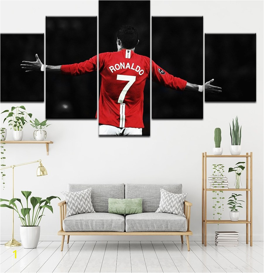 Canvas Painting Football Soccer start old trafford 5 Pieces Wall Art Painting Modular Wallpapers Poster Print