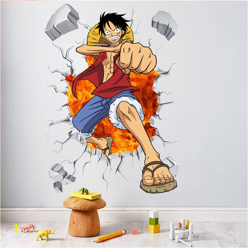 e Piece Anime ic Luffy Breack Wall 3D Window Wall Stickers Decals Vinyl Decoration Fashion Decor