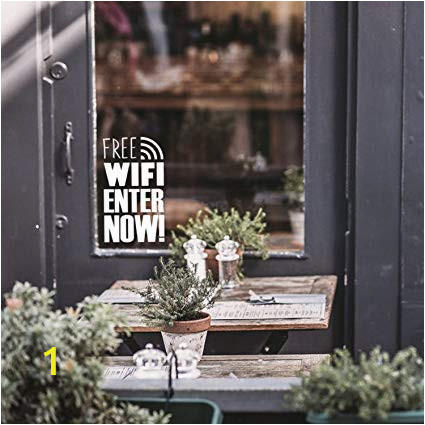 "Outdoor Wall Murals for Schools Free Wifi Business Sign 16"" X 10"" Decoration Vinyl Stickers Window Sign Vinyl Decals Free Wi Fi Vinyl Sticker for Businesses Coffee Shops and"