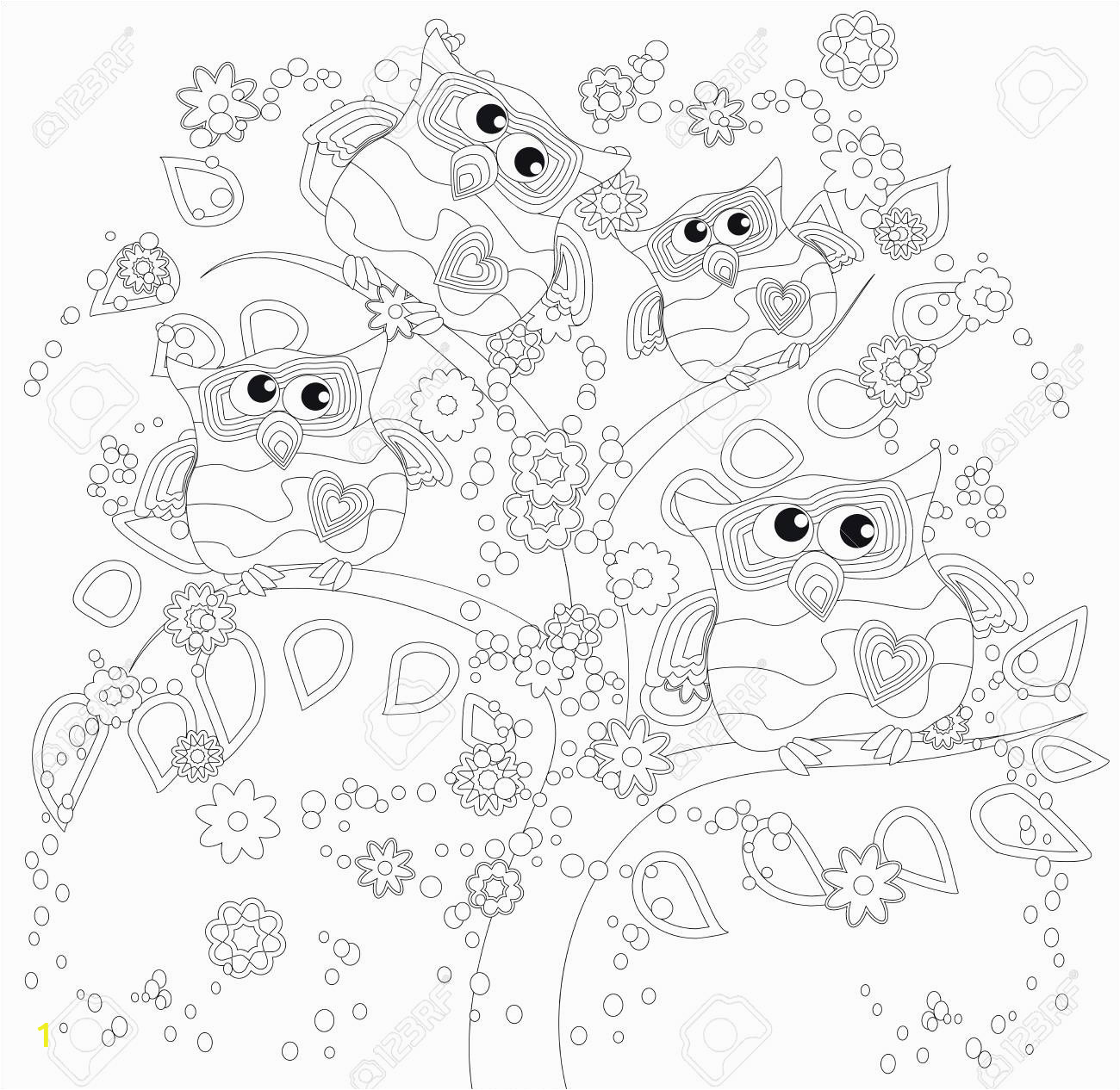 coloring book for adult and older children coloring page with cute owl and floral frame