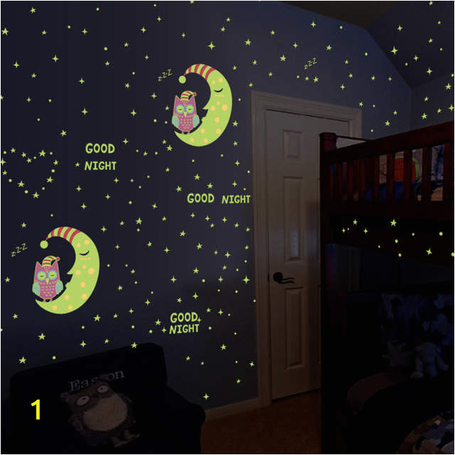 Luminous Owl Moon Star Wall Sticker Stars Glow For Kids Rooms Glow in the Dark Home 640x640q70