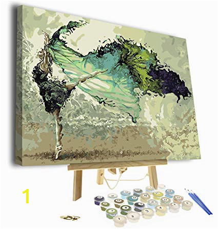 Paint by Numbers Wall Mural Kits Paint by Numbers for Adults Framed Canvas and Wooden Easel Stand Diy Full Set Of assorted Color Oil Painting Kit and Brush Accessories soul