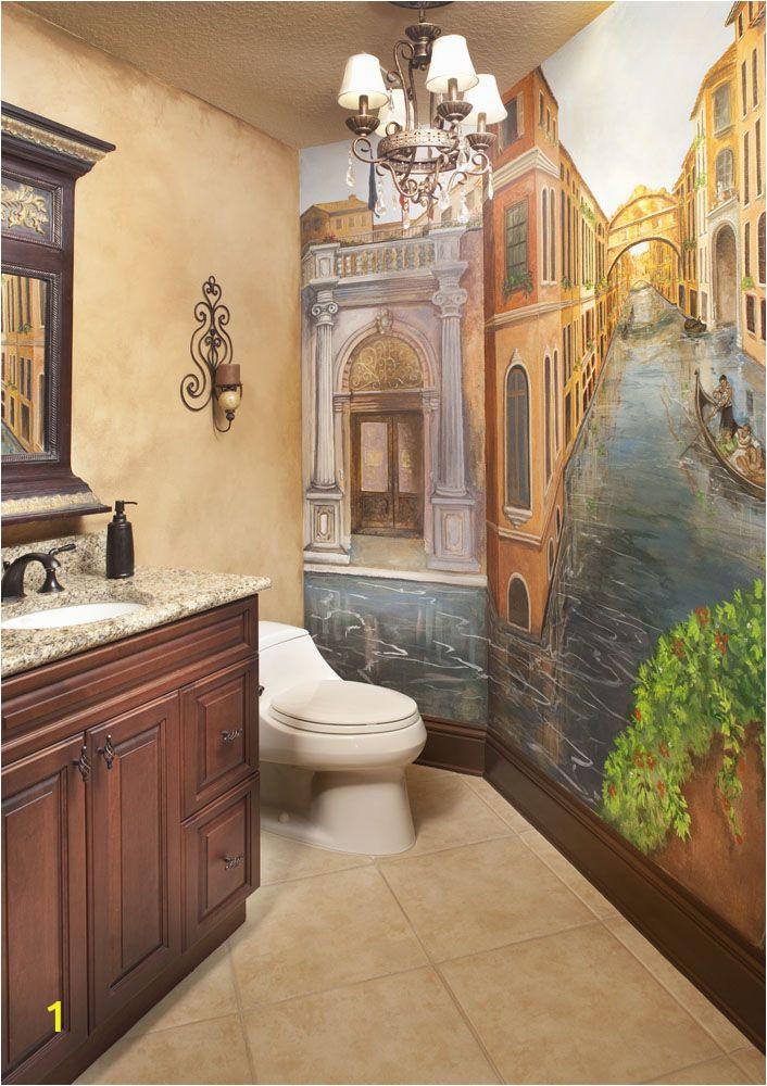 Painted Bathroom Wall Murals Powder Bath with Venetian Mural