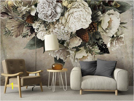 Painted Flower Wall Murals Oil Painting Dutch Giant Floral Wallpaper Wall Mural