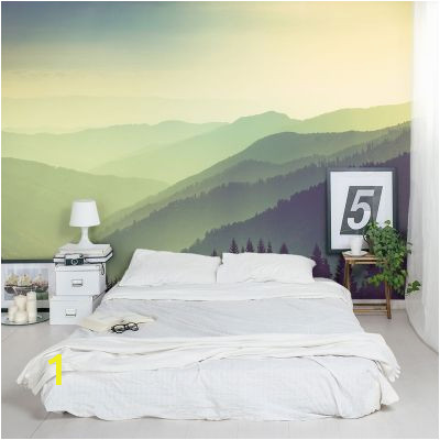 Painted Mountain Wall Mural Greenest Mountains Wall Mural In 2019