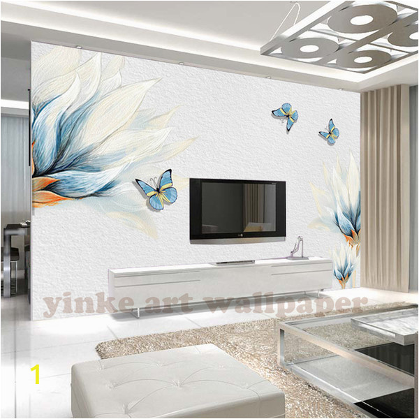 Painted Wall Mural Ideas for Living Room Custom Wallpaper 3d Stereoscopic Embossed Blue Hd Flowers Oil Painting Modern Art Wall Mural Living Room Bedroom Wallpaper to Wallpaper