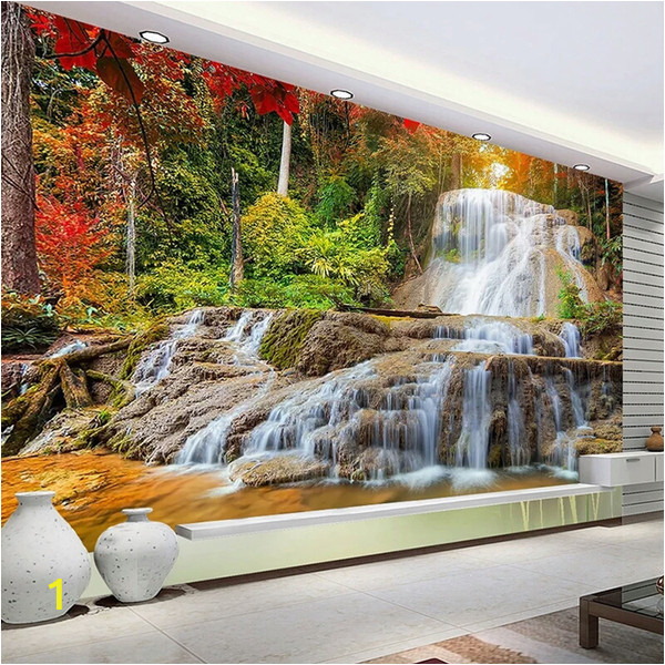 Painting A forest Wall Mural Custom Wallpaper Murals 3d Hd forest Rock Waterfall Graphy Background Wall Painting Living Room sofa Mural Wallpaper Canada 2019 From