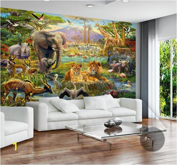 Painting Murals On Bedroom Walls Custom Mural Wallpaper 3d Children Cartoon Animal World forest Wall Painting Fresco Kids Bedroom Living Room Wallpaper 3 D Cellphone Wallpaper