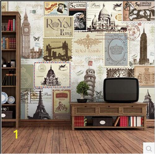Fashion vintage 3d wallpaper mural European style retro British Cafe Bar Club TV background wall paper