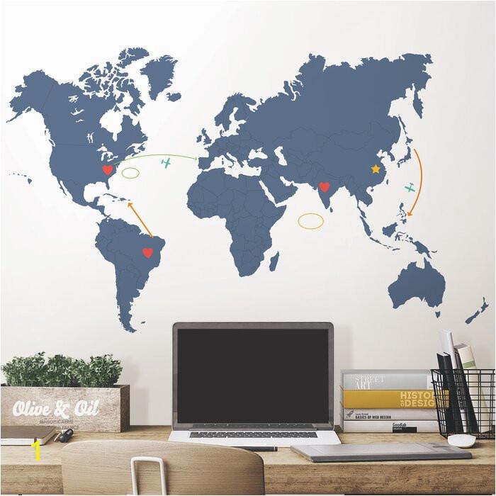Destination World Map Wall Decal