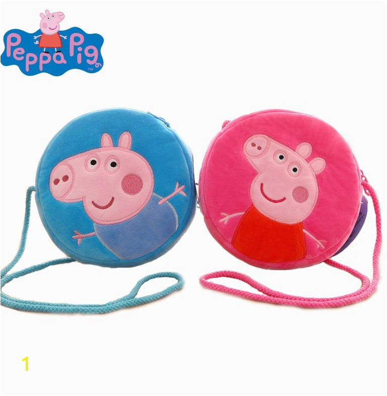 Original Peppa Pig font b George b font Pig Plush Cartoon Round Purse Toy Peppa font