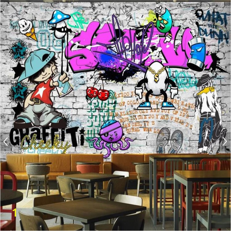 custom fashion mural trend street art graffiti decorative wallpaper hip hop brick wall tea restaurant