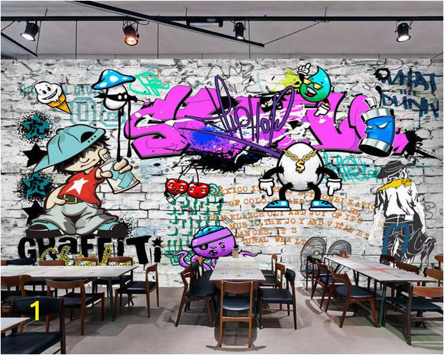 beibehang Custom wallpaper Fashion trend street art graffiti brick Cafe Bar Restaurant painting background wall 3d 640x640q70