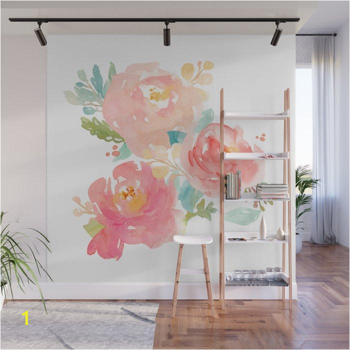 watercolor peonies summer bouquet wall murals
