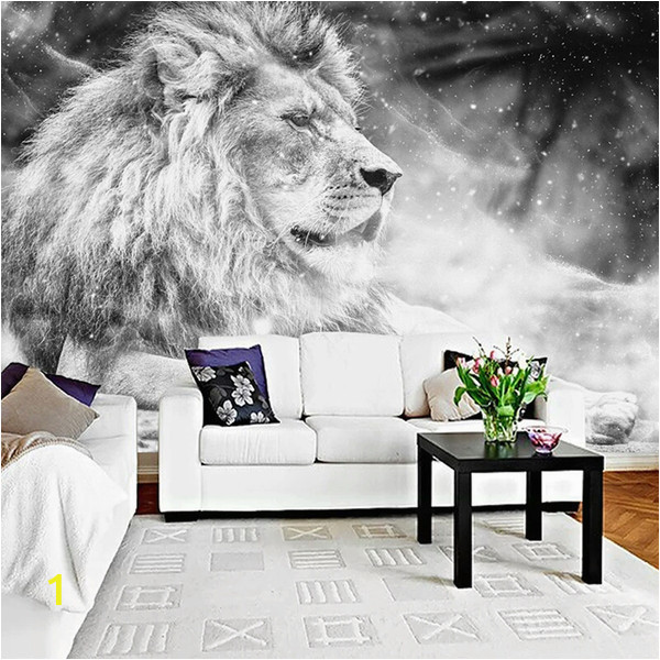 Photo Wall Murals Canada Custom Wallpaper Mural Black and White Animal Lion Papier Peint Mural 3d Living Room sofa Bedroom Background Decor Paper Canada 2019 From