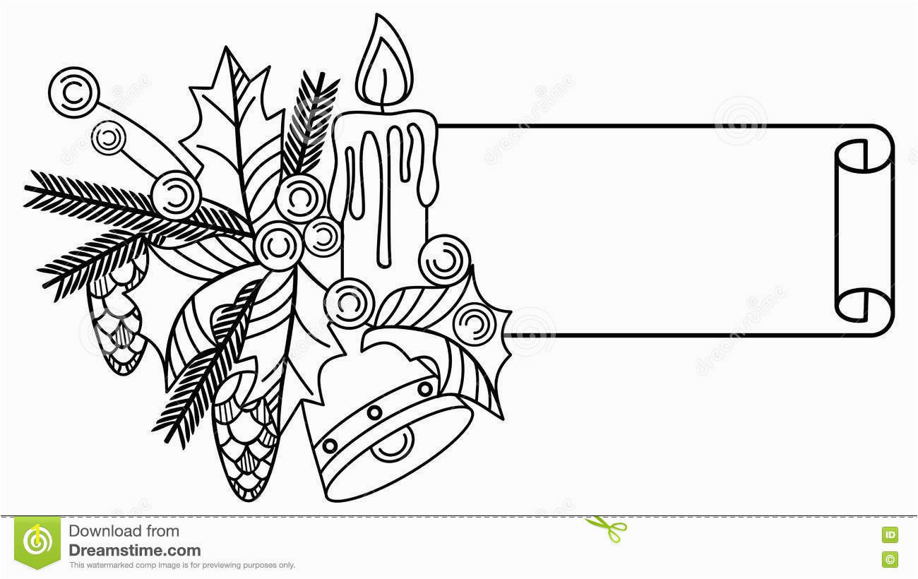 contour christmas banner holly berry lighting candle pine cones copy space raster clip art