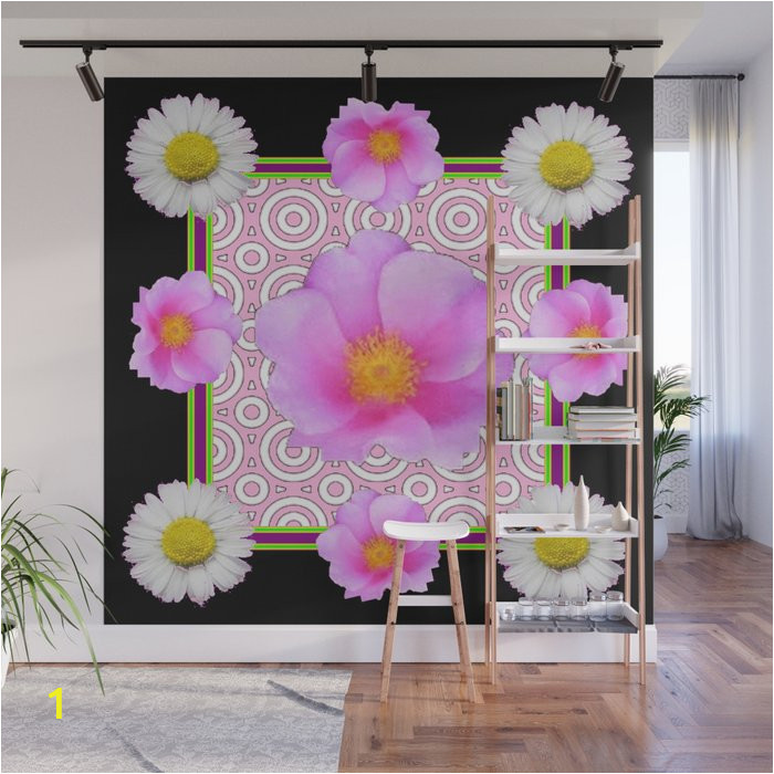 modern art style shasta daisy pink roses black color abstract art wall murals
