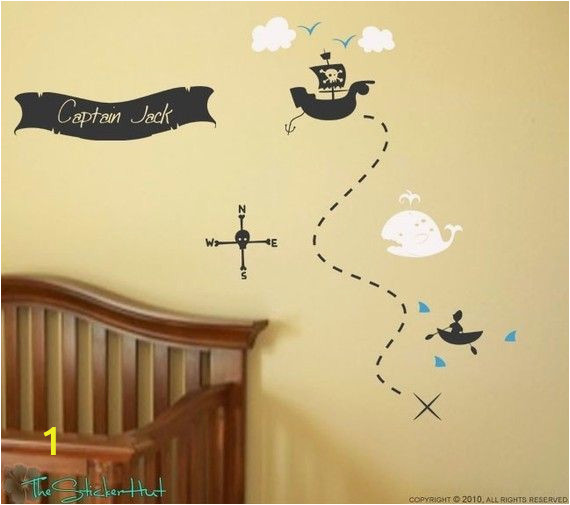 Pirate Treasure Map Wall Mural Pirate Treasure Map Your Name Boys Room Nursery Vinyl