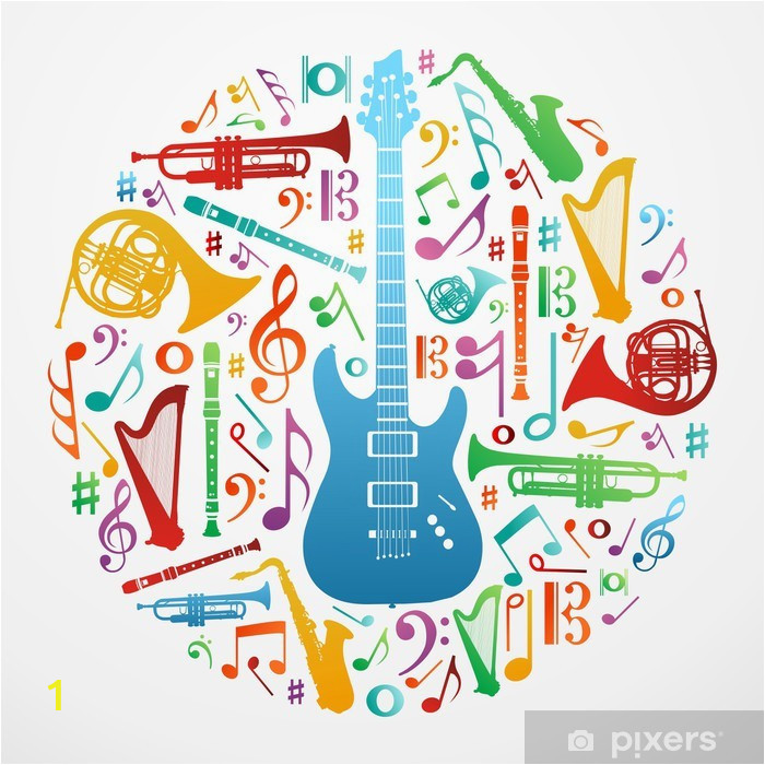 wall murals love for music concept illustration background
