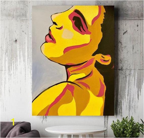 Pop Art Wall Mural Hand Painted Canvas Wall Art Woman Face Canvas Painting Picture Canvas Wall Fashion Image Woman Abstraction Face Pop Art Face Pop Art