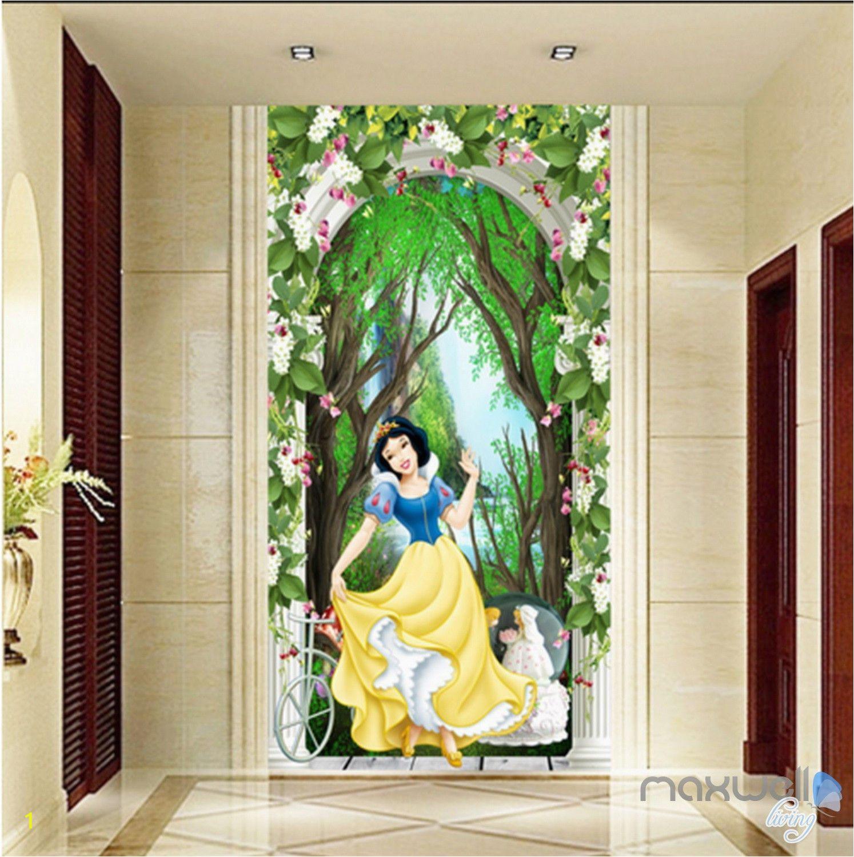 Princess Wall Mural Wallpaper 3d Snow White Princess Flower Arch forest Corridor Entrance