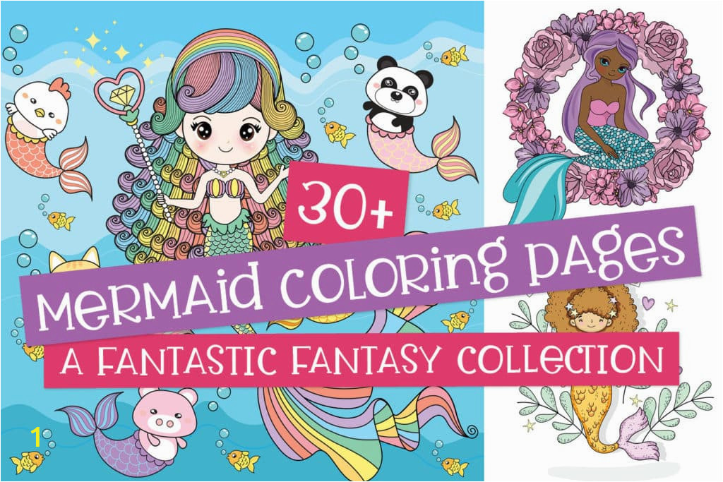 Mermaid coloring pages collection 1024x683