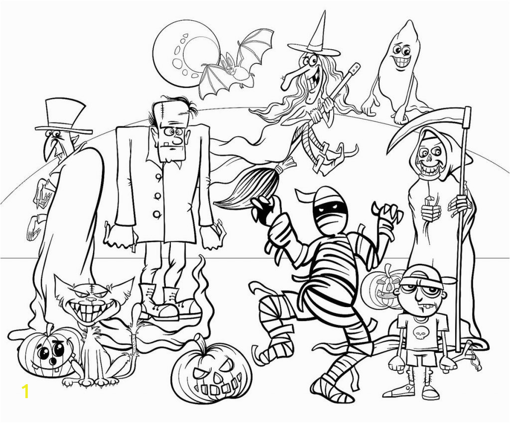 halloweenoloring pages free spooky printableute for adults and teens kids 1024x850