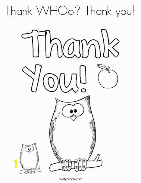 Printable Thank You Coloring Pages Thank whoo Thank You Coloring Page Twisty Noodle