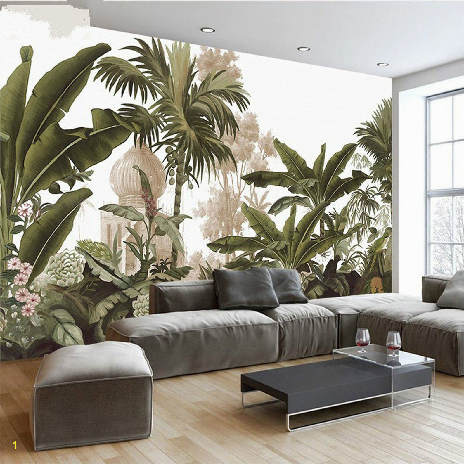 Rain forest Wall Mural Hand Painted Tropical Rainforest forest Wallpaper Wall Mural
